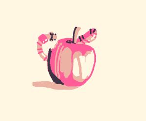 A Cute Little Worm Enjoying His Apple