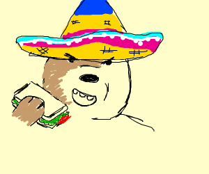 angry mexican bear eating a sandwich