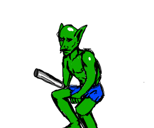 Green Goblin with metal rod arm
