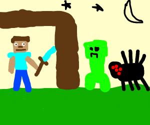Minecraft Steve hides at night