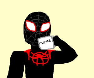 Miles Morales drinks some coffee