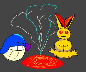 victini and wailmer doing a sacred ritual
