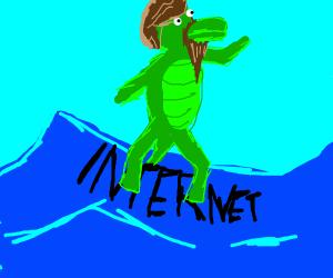 Gator with Facial Hair surfs the Internet