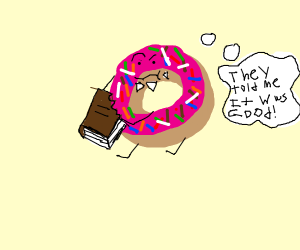 A donut eating books