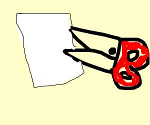 Scissors cutting paper.