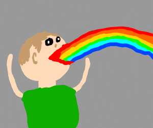 Person vomiting rainbows