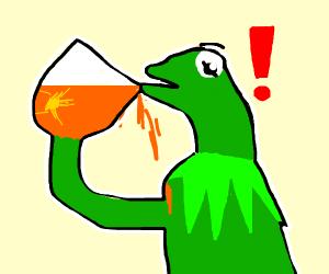 Kemit spills hot tea at his breast