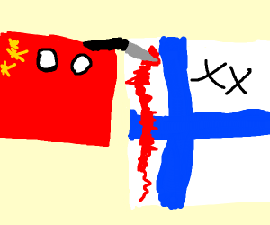 China flag attacks Finland flag