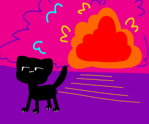Swag cat walking away from an explosion