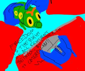 Optimus Prime strangles a caterpillar