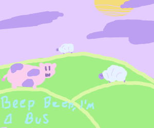 Cow beep beep like a bus (Not a sheep)