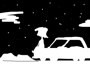 Person stargazing by car