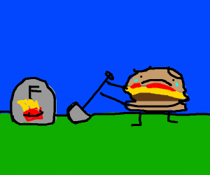 A Burger burrying his friend