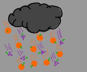 Raining oranges and grapes