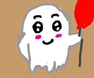 Really cute ghost with a ballon on his bd