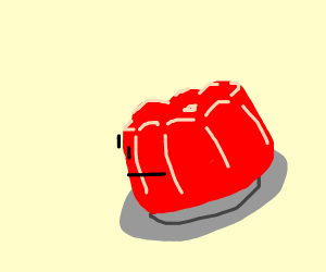 Red jello staring blankly into nothingness