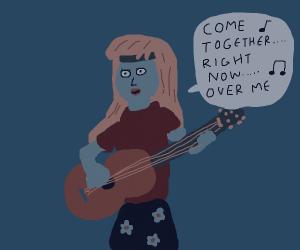 female hippie Beatles fan