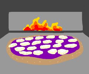 purple pizza.