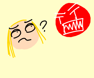 girl confused over angry red ball