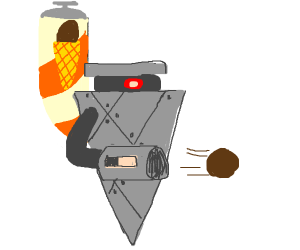 Robot shoots chocolate ice cream