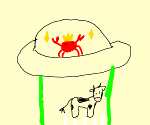 crab lord abducts cow with green beam