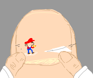 Thumb man plays with his Mario action figure