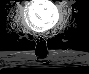 Rat looks at the moon