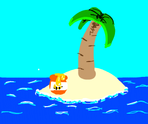 A pot of honey on an island with a palmtree