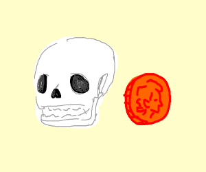 a skull with hair next to a coin