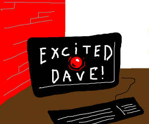 Excited computer with a red wall