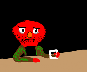 Middle age Elmo holding a cup