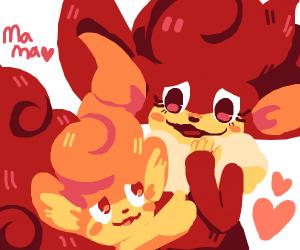 Pansear baby loves its Pansear mom (pokemon)