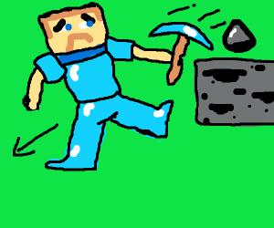 Steve falling after mining coal