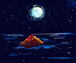 lobster praises the full moon at night