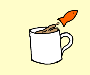 Fish jumping out of coffee