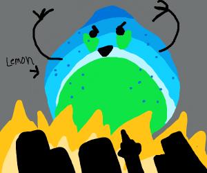 Giant lemon attacks city