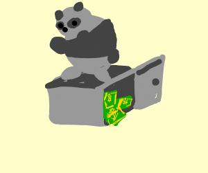 Putting money inside panda statue