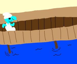 Smirf crossing a bridge