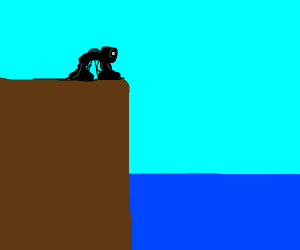 Strange black slime creature on cliff