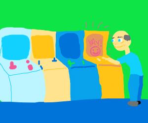 Old man at the arcade.