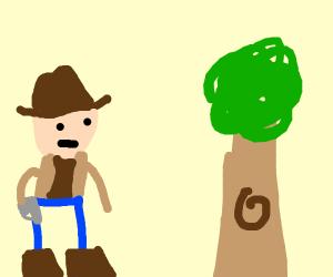 Cowboy sees tree