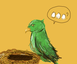 green bird asks what is 3 eggs in nest future