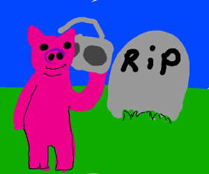pig visits grave with boombox