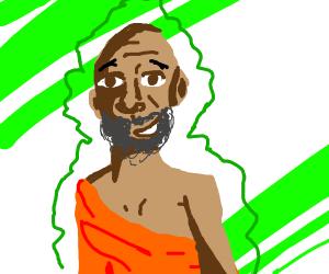 Happy bearded monk
