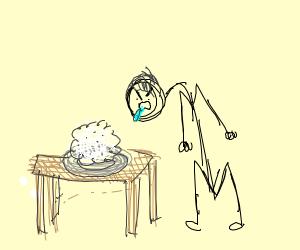 Man spitting on a mash potato