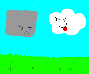 Square grey cloud, frightened he will offend