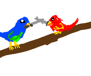 two birds fighting with swords