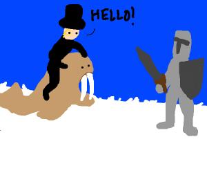gentleman riding walrus greets knight