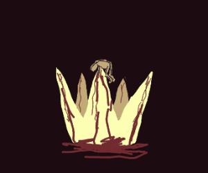 Bloody crown wearing man