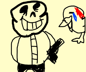 sans shoots a duck in the head